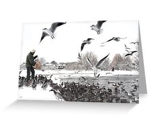 Feeding The Ducks - Ormskirk Greeting Card