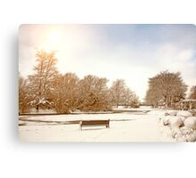 Coronation Park Lake - Snowy Ormskirk Canvas Print