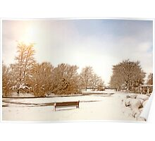 Coronation Park Lake - Snowy Ormskirk Poster