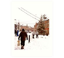 Ormskirk Town Centre - Snowing Art Print