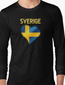 Sverige - Swedish Flag Heart & Text - Metallic Long Sleeve T-Shirt