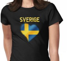 Sverige - Swedish Flag Heart & Text - Metallic Womens Fitted T-Shirt