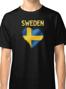 Sweden - Swedish Flag Heart & Text - Metallic Classic T-Shirt
