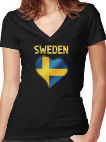 Sweden - Swedish Flag Heart & Text - Metallic Women's Fitted V-Neck T-Shirt