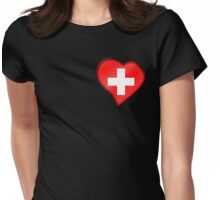 Swiss Flag - Switzerland - Heart Womens Fitted T-Shirt