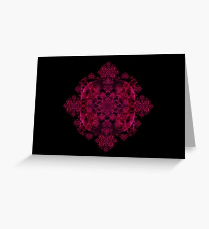 Red and Dark Pink Koch Spirograph Greeting Card