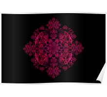 Red and Dark Pink Koch Spirograph Poster