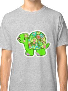 Kawaii Turtle Girl with retro flowers - Classic T-Shirt