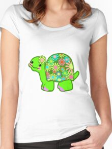 Kawaii Turtle Girl with retro flowers - Women's Fitted Scoop T-Shirt