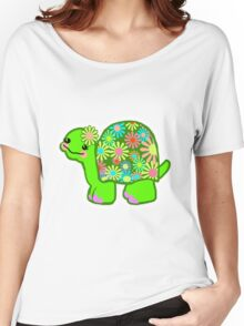 Kawaii Turtle Girl with retro flowers - Women's Relaxed Fit T-Shirt