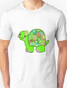 Kawaii Turtle Girl with retro flowers - T-Shirt
