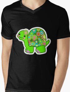 Kawaii Turtle Girl with retro flowers - Mens V-Neck T-Shirt