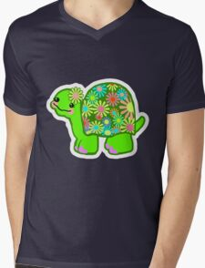 Kawaii Turtle Girl with retro flowers - T-Shirt