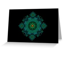 Aqua and Green Koch Spirograph Greeting Card