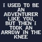 I used to be an adventurer like you, but then I took an arrow in the knee by ashedgreg