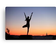 Tree pose silhouette in front of the Statue of Liberty, New York Canvas Print
