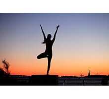 Tree pose silhouette in front of the Statue of Liberty, New York Photographic Print