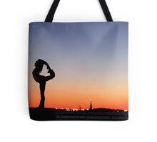 Yoga in New York silouette Tote Bag