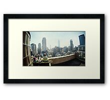 Yoga Meditation in a rooftop by the Empire State Building, New York City views Framed Print