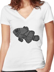 Clownfish Line Drawing (Grain) Women's Fitted V-Neck T-Shirt