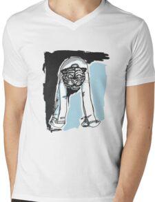 Demon Tiger Man Mens V-Neck T-Shirt