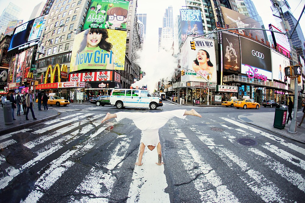 Yoga handstand at Times Square, Manhattan New York City by Wari Om  Yoga Photography