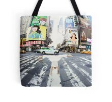Yoga handstand at Times Square, Manhattan New York City Tote Bag