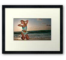 Young beautiful women on the sunny tropical beach Framed Print