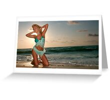 Young beautiful women on the sunny tropical beach Greeting Card