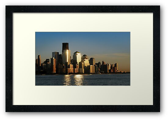 A sunset view of the downtown Manhattan skyline by Anton Oparin