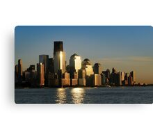A sunset view of the downtown Manhattan skyline Canvas Print