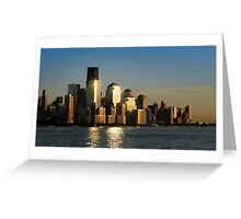 A sunset view of the downtown Manhattan skyline Greeting Card