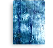 Heavy rain drops on blue window  Metal Print
