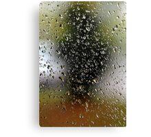 Abstract rain drops at garden window.  Canvas Print