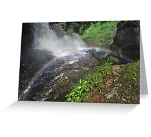Bushkill waterfall with full spring water and rainbow at summer time Greeting Card
