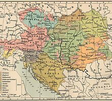 Vintage Map of Austria and Hungary (1911) by BravuraMedia