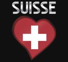 Suisse - Swiss Flag Heart & Text - Metallic One Piece - Long Sleeve