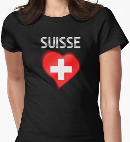 Suisse - Swiss Flag Heart & Text - Metallic Womens Fitted T-Shirt