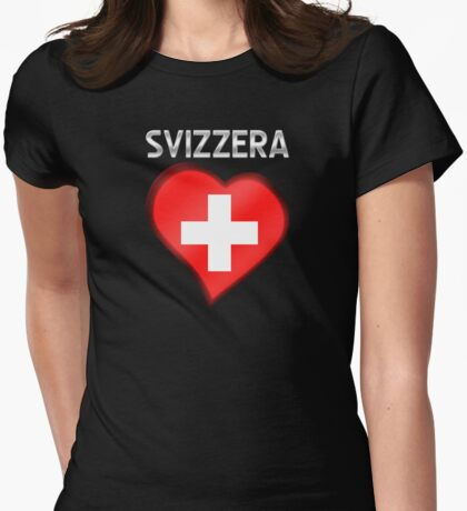 Svizzera - Swiss Flag Heart & Text - Metallic Womens Fitted T-Shirt