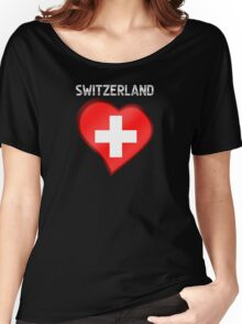 Switzerland - Swiss Flag Heart & Text - Metallic Women's Relaxed Fit T-Shirt