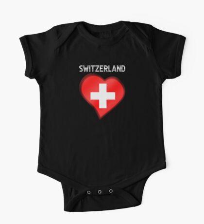 Switzerland - Swiss Flag Heart & Text - Metallic One Piece - Short Sleeve