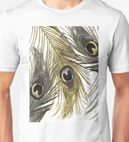 Gold and Silver Peacock Feathers Unisex T-Shirt