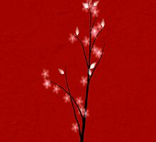 Cherry Blossom Tree - red background by Jarede Schmetterer