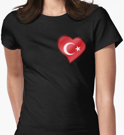 Turkish Flag - Turkey - Heart Womens Fitted T-Shirt