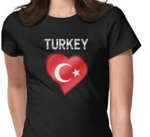 Turkey - Turkish Flag Heart & Text - Metallic Womens Fitted T-Shirt