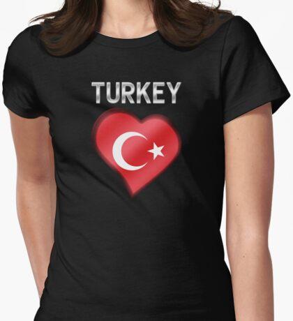 Turkey - Turkish Flag Heart & Text - Metallic Womens Fitted T-Shirt