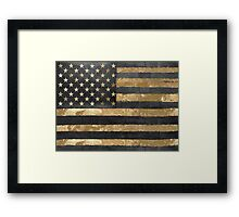 American Flag Gold and Black  Framed Print