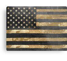American Flag Gold and Black  Metal Print