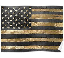 American Flag Gold and Black  Poster