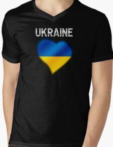 Ukraine - Ukrainian Flag Heart & Text - Metallic Mens V-Neck T-Shirt